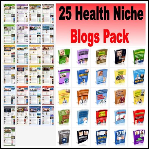 Product picture 25 Health Niche Blog Sites PLR Package